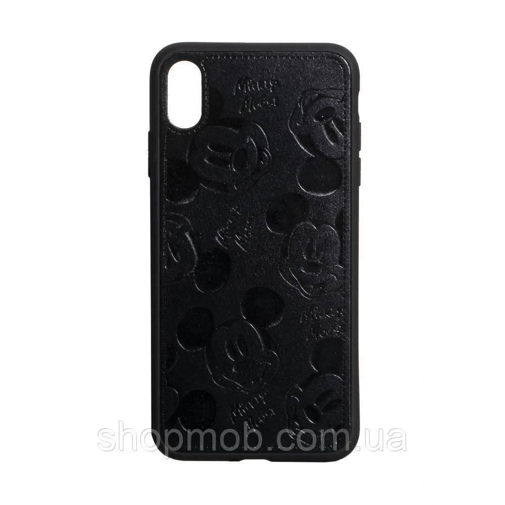 Чехол накладка для смартфонов (Микимаус под кожу) Mickey for Apple Iphone Xr Цвет Чёрный