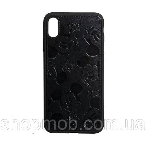 Чехол накладка для смартфонов (Микимаус под кожу) Mickey for Apple Iphone Xr Цвет Чёрный, фото 2