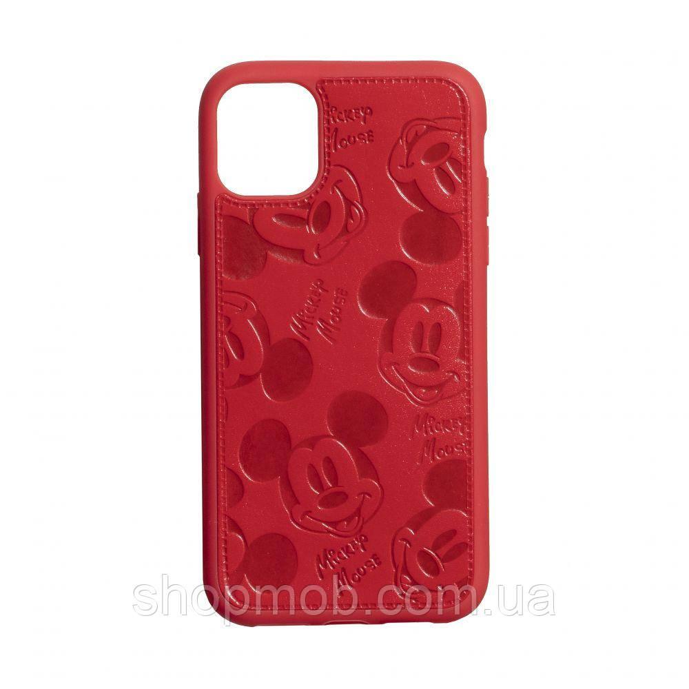 Чехол накладка для смартфонов (Микимаус под кожу) Mickey for Apple Iphone 11 Цвет Красный