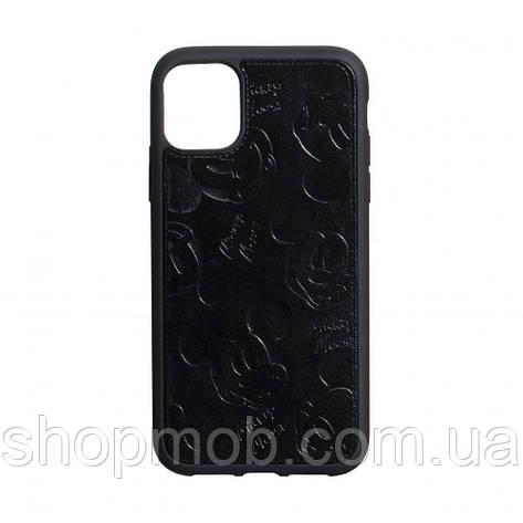 Чехол накладка для смартфонов (Микимаус под кожу) Mickey for Apple Iphone 11 Цвет Чёрный, фото 2