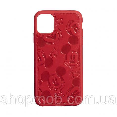 Чехол накладка для смартфонов (Микимаус под кожу) Mickey for Apple Iphone 11 Pro Цвет Красный, фото 2