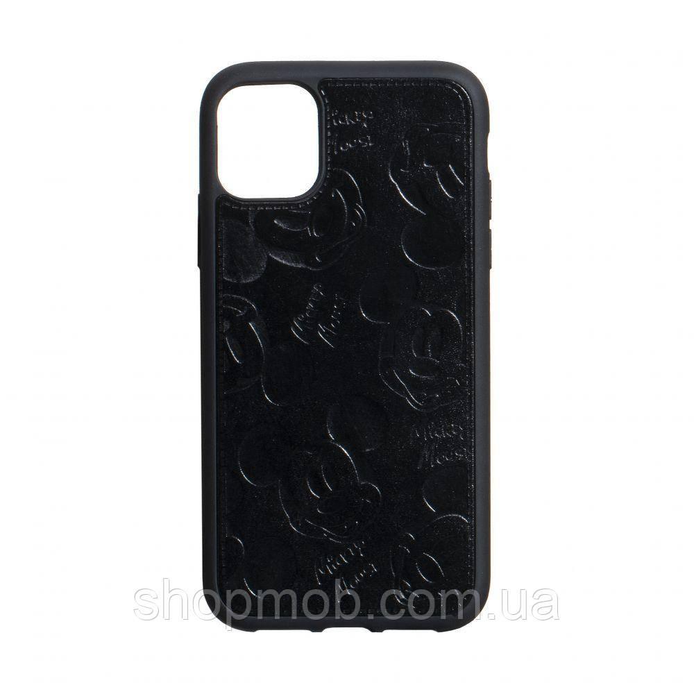 Чехол накладка для смартфонов (Микимаус под кожу) Mickey for Apple Iphone 11 Pro Цвет Чёрный