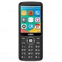 Кнопочный телефон синий с большим экраном и камерой на 2 сим карты Verico Style S283 Black