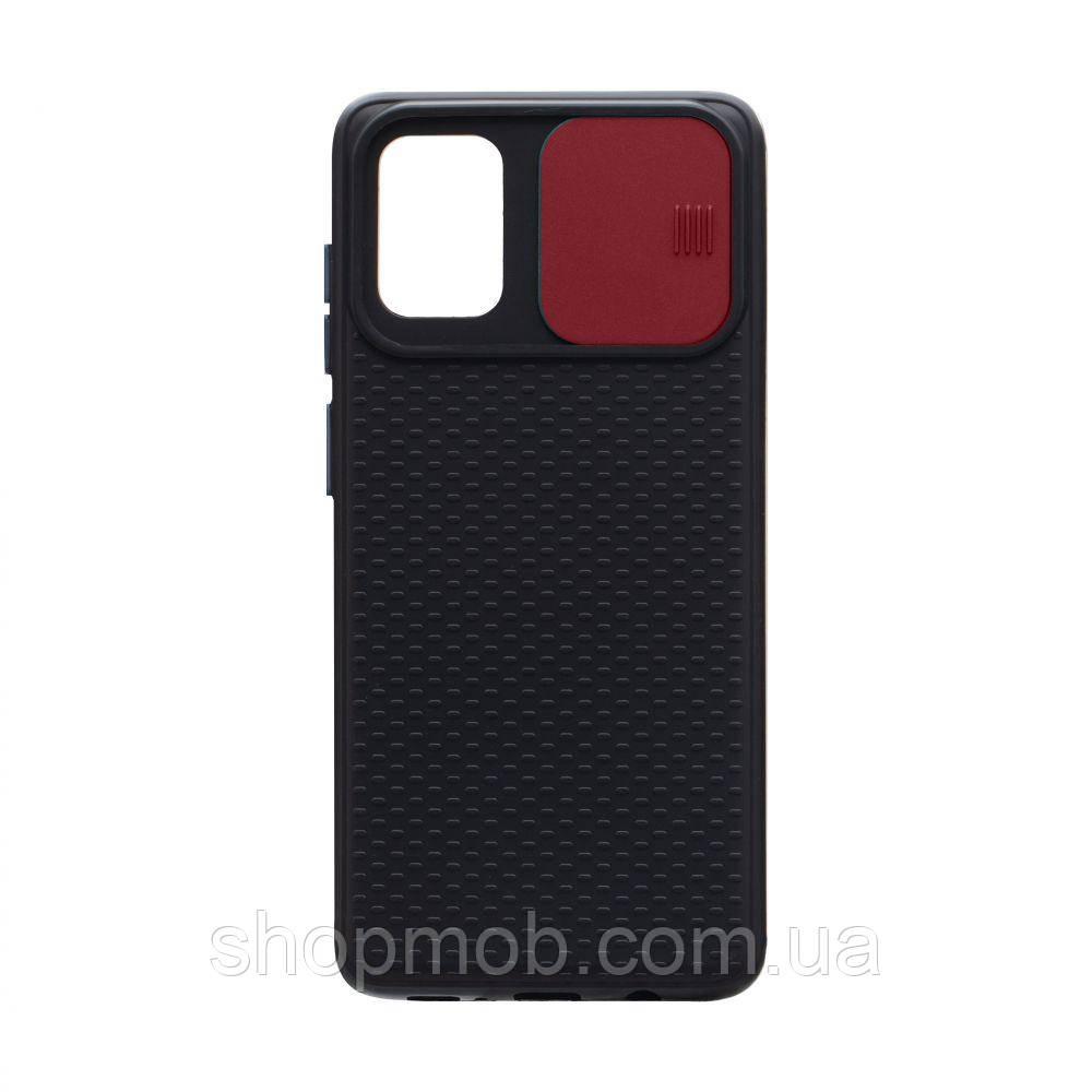 Чехол накладка для смартфонов (с защитой камеры) Non-slip Curtain for Samsung A71 Цвет Красный