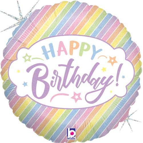 """BT 18"""" Birthday Pastel Foil Balloons. Шар фольгированный надувной С Днем рождения. Голографик. в уп."""