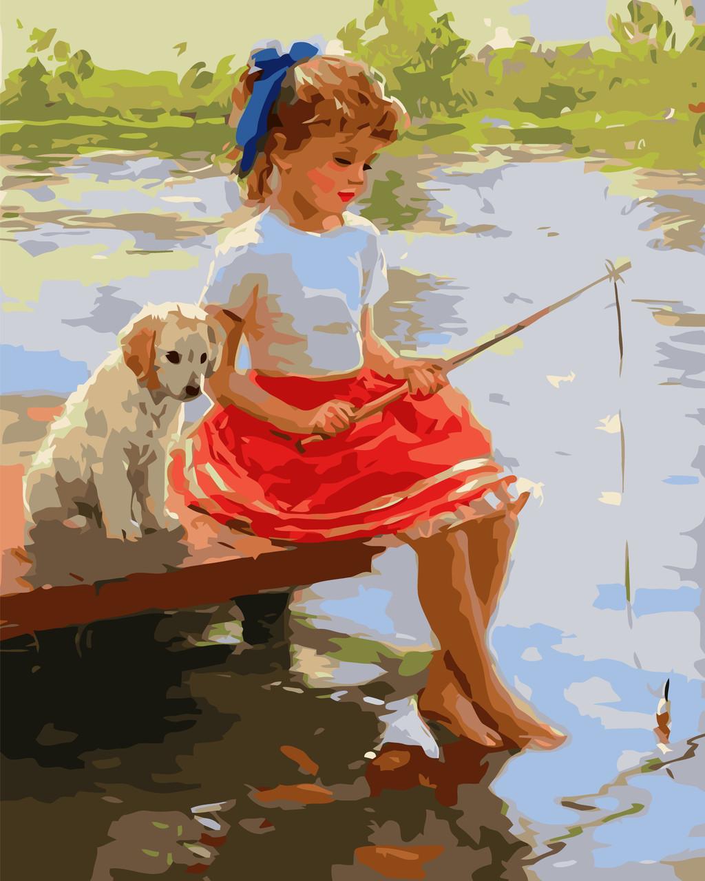 Картина по номерам VA-1794 Девочка и щенок на мостику, 40х50см. Strateg