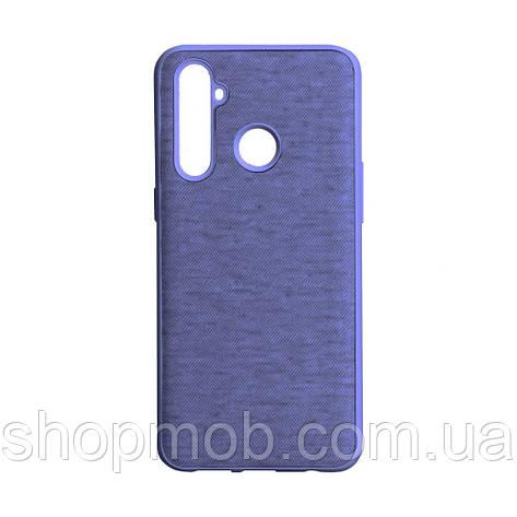 Чехол накладка для смартфонов (с поверхностью под джинс) Jeans for Realme 5 Pro Цвет Фиолетовый, фото 2