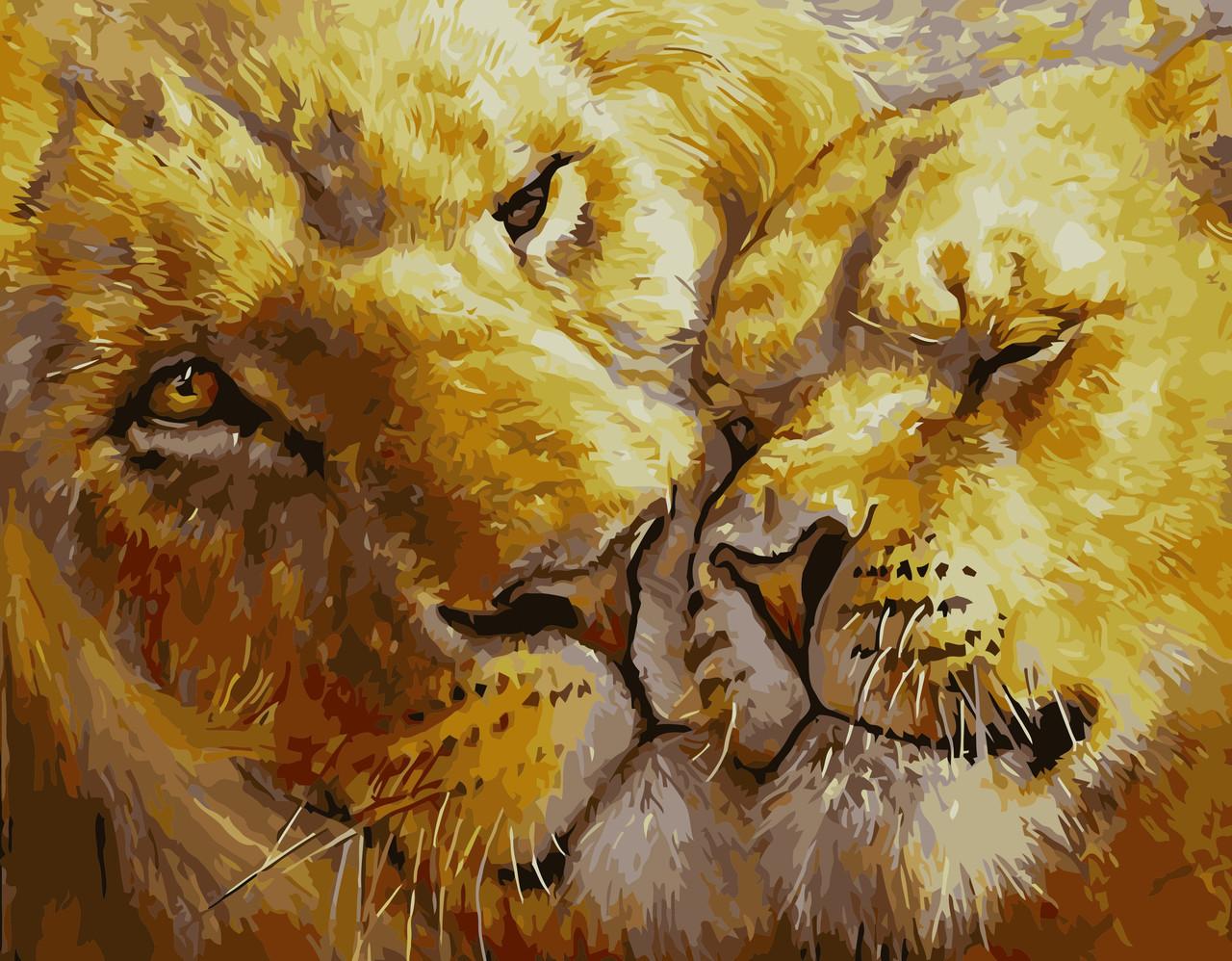 Картина по номерам VA-1766 Влюбленные лев и львица, 40х50см. Strateg