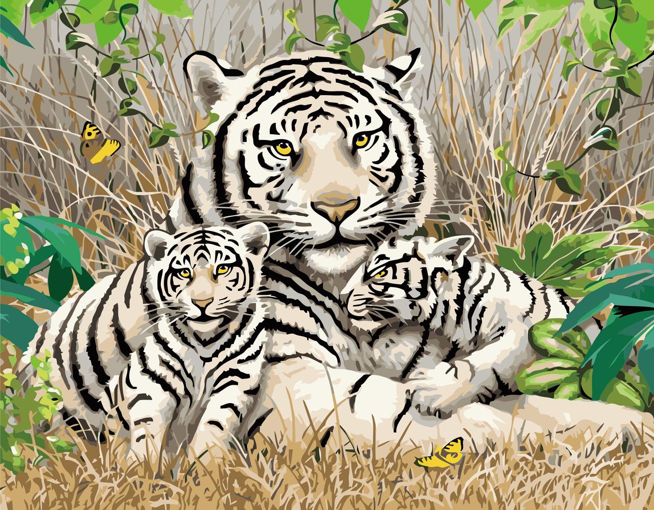 Картина по номерам VA-1705 Семья бенгальских тигров, 40х50см. Strateg
