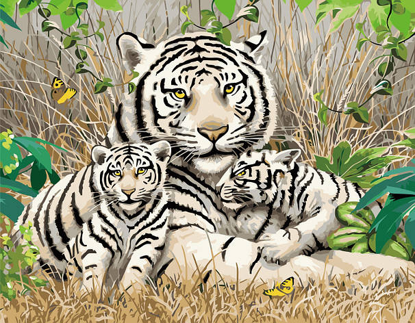 Картина по номерам VA-1705 Семья бенгальских тигров, 40х50см. Strateg, фото 2