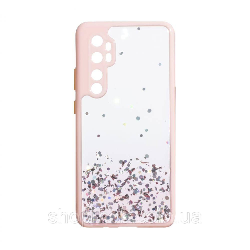 Чехол Frame with Sequins for Xiaomi Mi Note 10 Lite Цвет Розовый