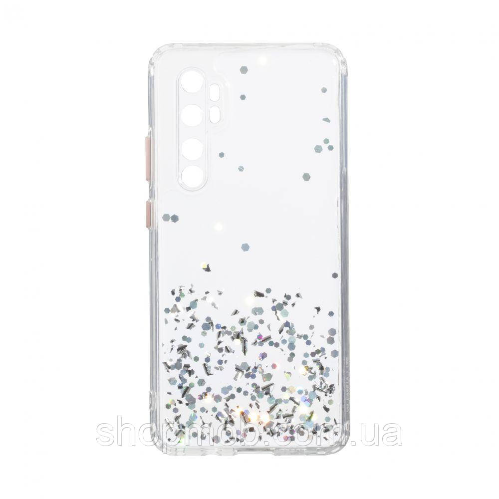 Чехол Frame with Sequins for Xiaomi Mi Note 10 Lite Цвет Серебристый