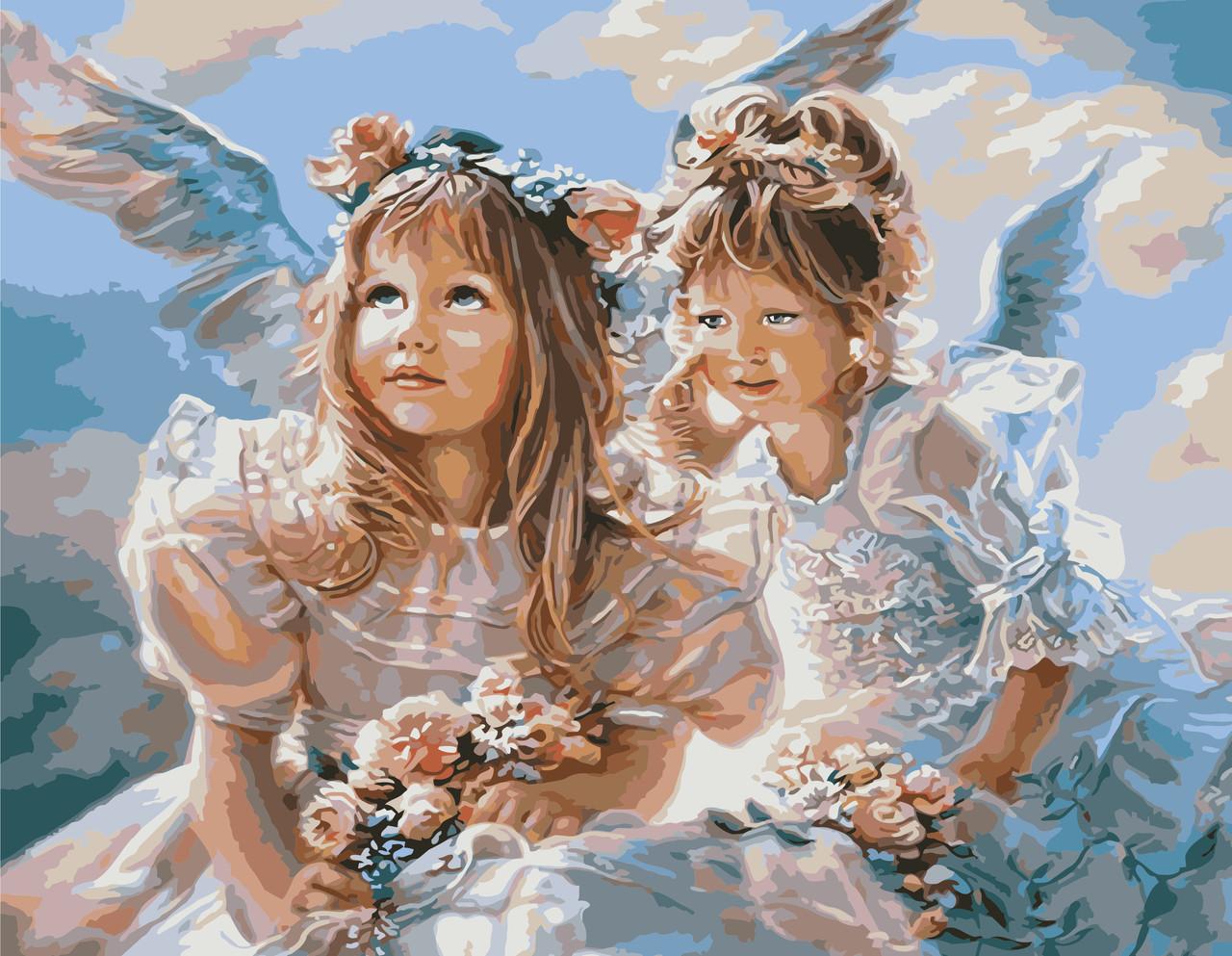 Картина по номерам VA-1664 Две девочки-ангела, 40х50см. Strateg