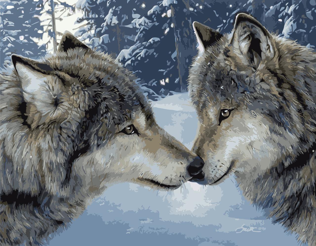 Картина по номерам VA-1651 Поцелуй волков 40х50см. Strateg