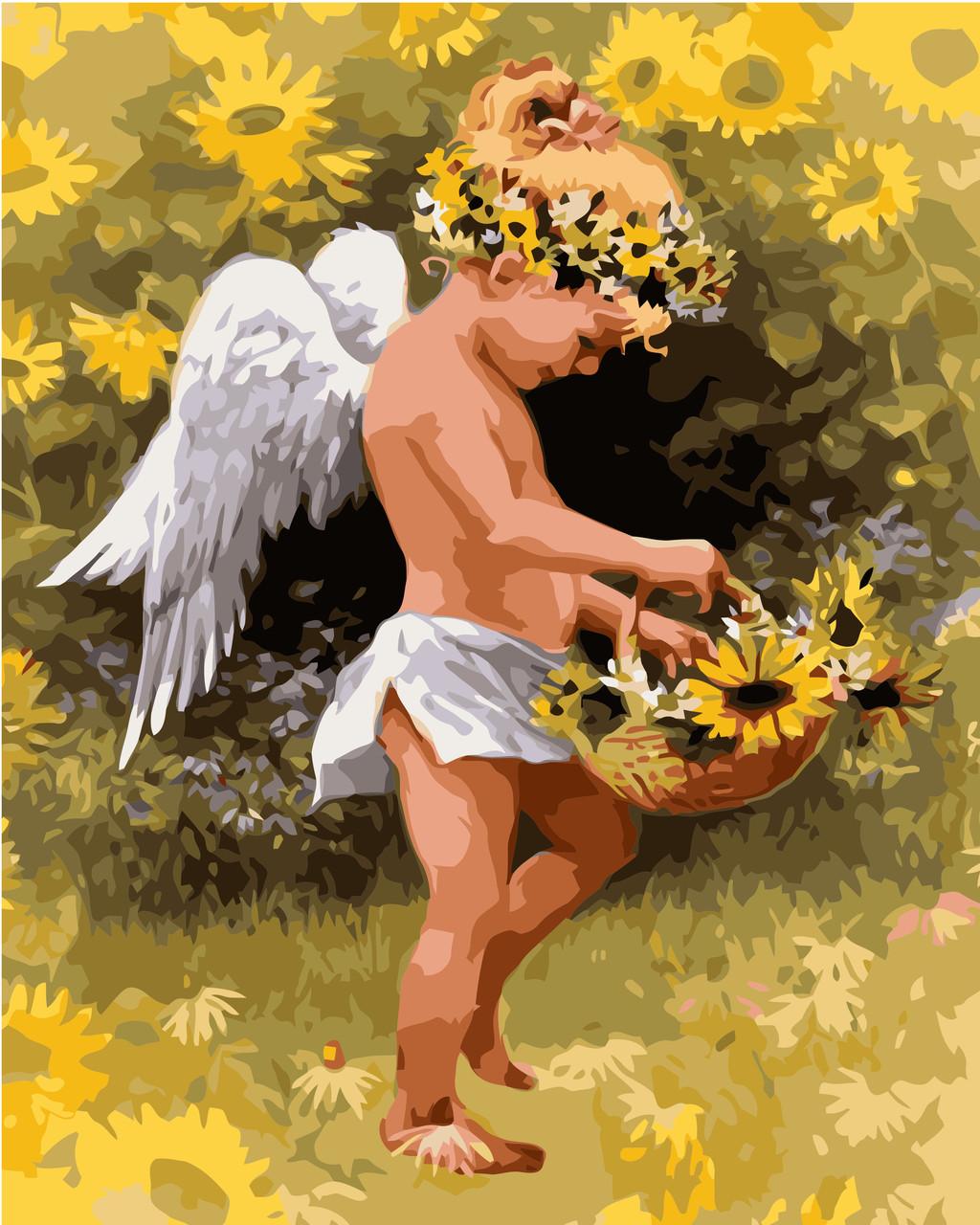 Картина по номерам VA-1583 Маленький ангел в подсолнухах, 40х50см. Strateg