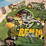 Детское постельное белье. Бен 10 Зеленое. Полуторный Фланель, фото 3