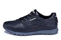 Мужские кожаные кроссовки Reebok Classic Black (реплика) р. 40 41 42 44 45