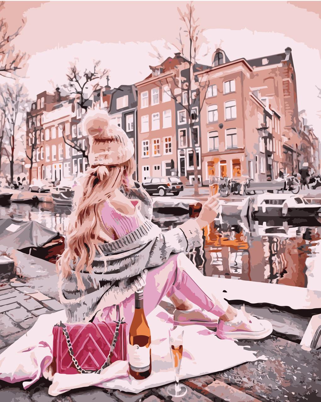 Картина по номерам VA-1541 Девушка с вином около канала, 40х50см. Strateg