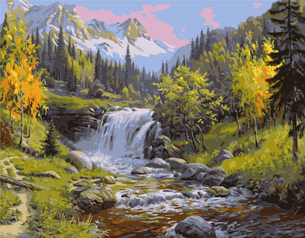 Картина по номерам VA-1510 Лесной водопад, 40х50см. Strateg, фото 2