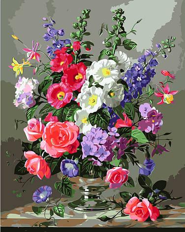 Картина по номерам VA-1400 Разноцветный букет, 40х50см. Strateg, фото 2