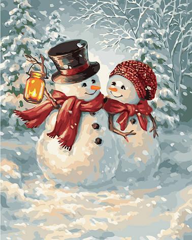 """Картина по номерам VA-1480 """"Добрі сніговики"""", розміром 40х50 см Strateg, фото 2"""