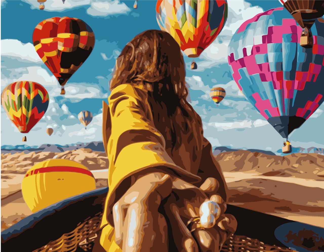 Картина по номерам VA-1283 Девушка с воздушными шарами, 40х50см. Strateg