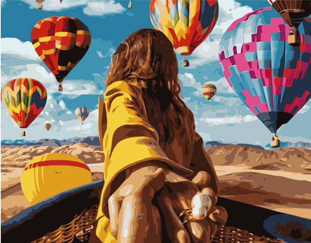 Картина по номерам VA-1283 Девушка с воздушными шарами, 40х50см. Strateg, фото 2