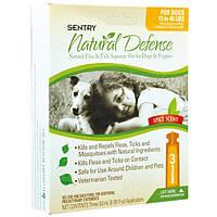 Капли от блох и клещей для собак 7-18 кг SENTRY Natural Defense, 1 мл
