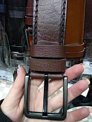 Мужской ремень коричневый кожаный классический ширина 4.5 см Р-83