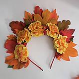 Осенний венок. Обруч для волос. Бархатцы и листья  Осень.  Осенние листья и чернобрывцы Венок для Фотосессии, фото 3