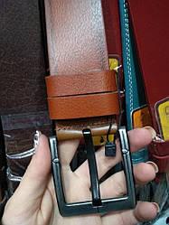 Мужской ремень кожаный коричневый классический ширина 4.5 см Р-84