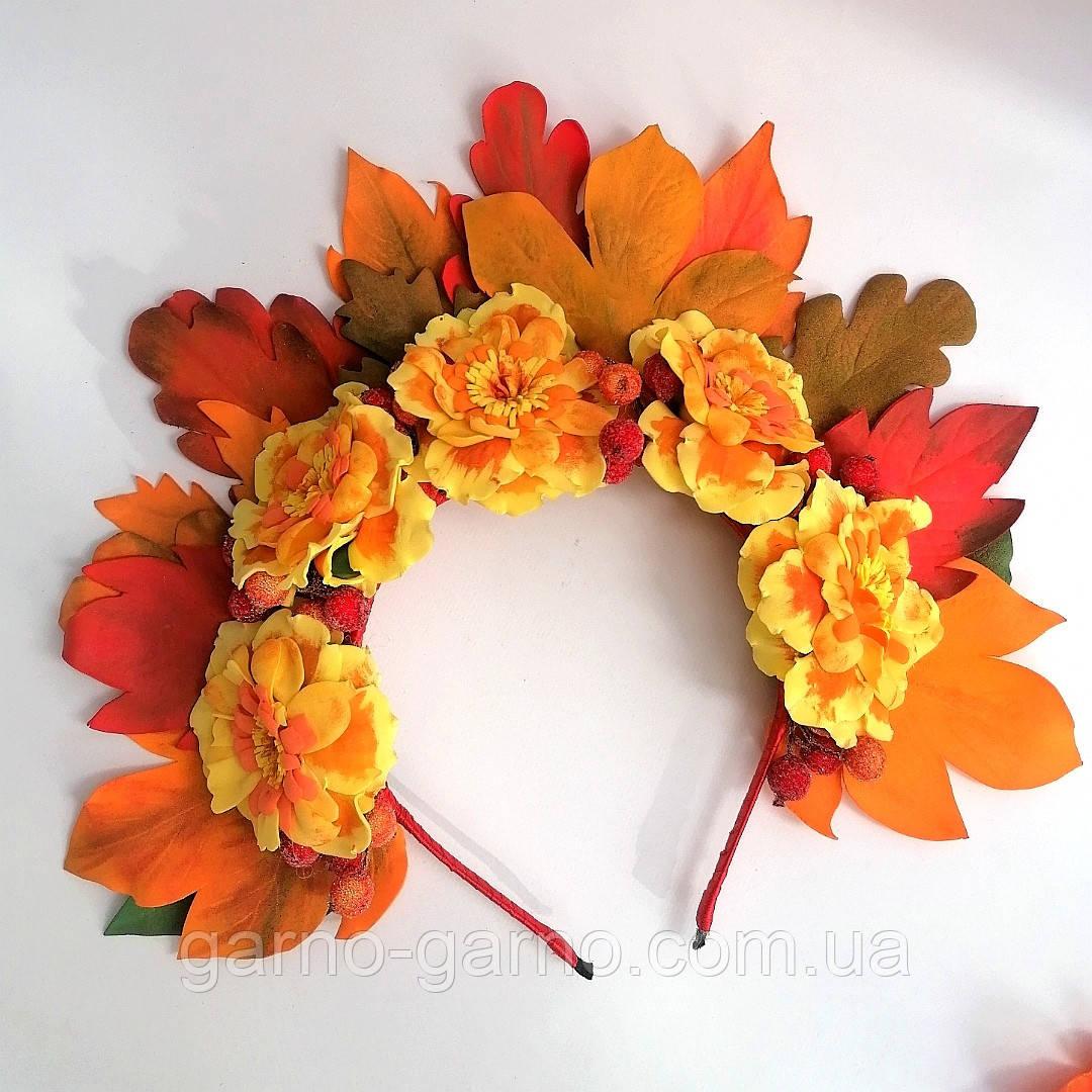 Осенний венок. Обруч для волос. Бархатцы и листья  Осень.  Осенние листья и чернобрывцы Венок для Фотосессии