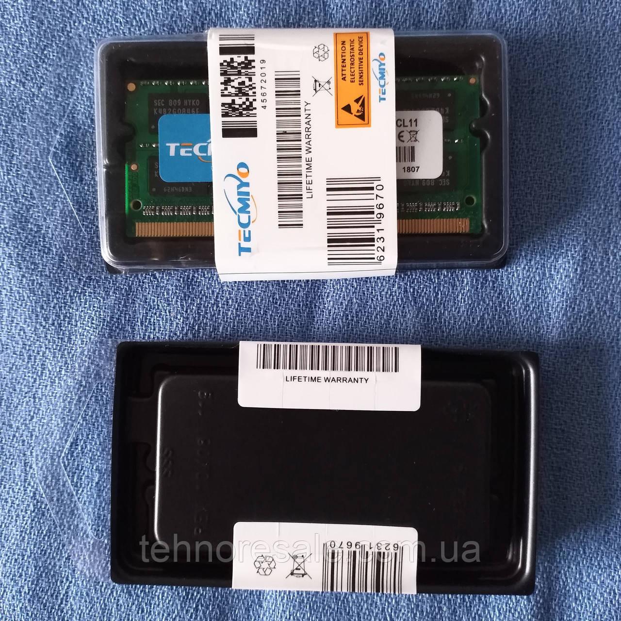 НОВА оперативна пам'ять TECMIYO SODIMM DDR3 4Gb, 1600 MHz, CL11, для ноутбуків та моноблоків