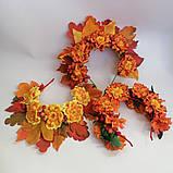 Осенний венок. Обруч для волос. Бархатцы и листья  Осень.  Осенние листья и чернобрывцы Венок для Фотосессии, фото 5