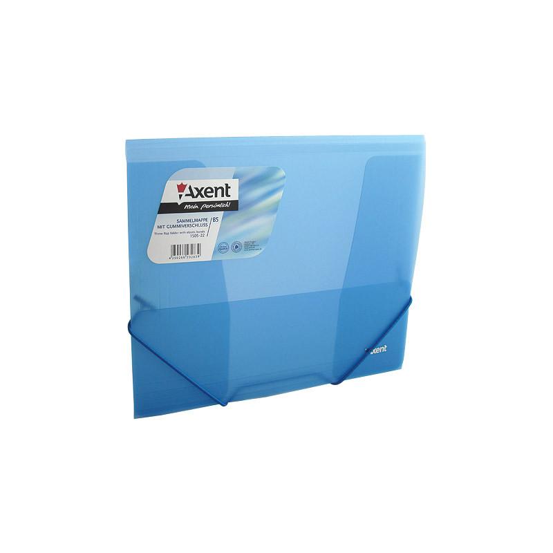 Папка Axent на резинках В5, прозрачная, синяя  1505-22-A