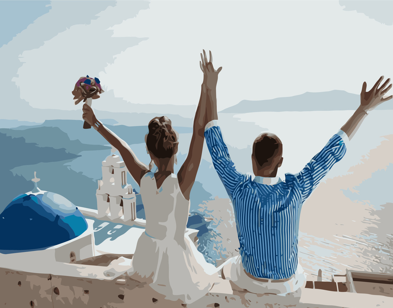 Картина по номерам VA-1090 Свадебное путешествие, 40х50см. Strateg