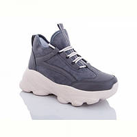 Жіночі черевики сірі танкетка демі еко-замша 38