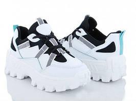 Підліткові кроссівки білі на массивній підошві еко-шкіра демі