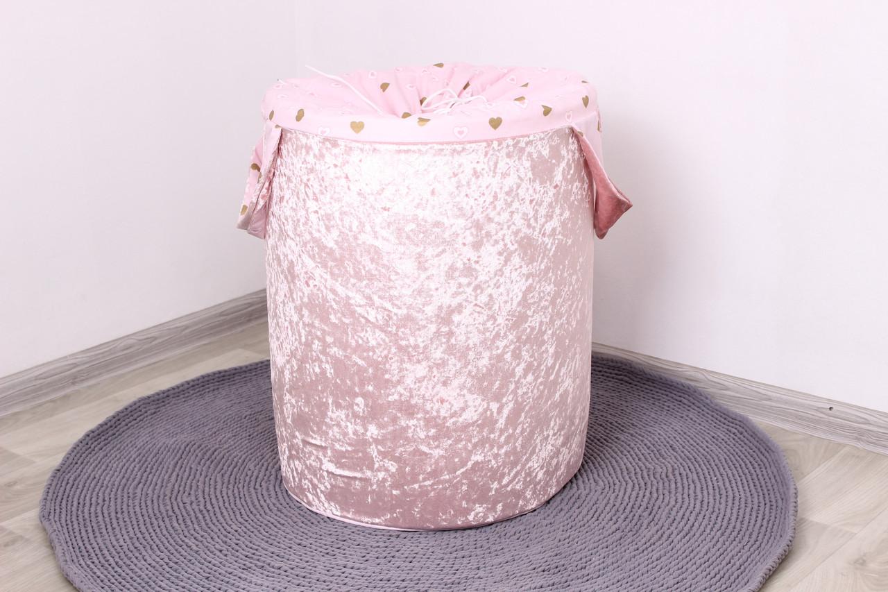 Корзина для игрушек Мраморный велюр розовый