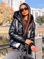 Пуховик женский теплый из эко кожи объемный с капюшоном Gsa1379