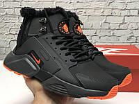Зимние мужские кроссовки с мехом Nike Huarache X Acronym City Winter черно-серые (Найк Хуараче на меху), фото 1