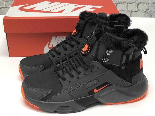 Зимние мужские кроссовки с мехом Nike Huarache X Acronym City Winter черно-серые фото