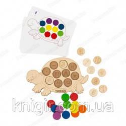 Развиваюча черепаха (дерево) плашка 19см*11см + 8 карток зі схемами завдань в коробці