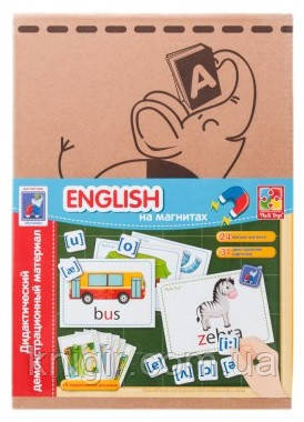 Букви та звуки на магнітах English 24 магніта 36 двустор. карток 5 темат. рис.