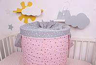 """Корзина для игрушек """"Звёзды розовые с серыми"""", фото 3"""