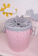 """Корзина для игрушек """"Звёзды розовые с серыми"""", фото 2"""