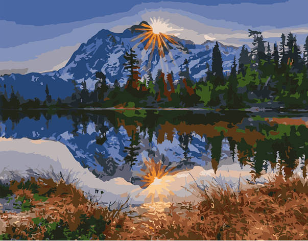 Картина по номерам VA-0311 Гори рядом с озером, 40х50см. Strateg, фото 2
