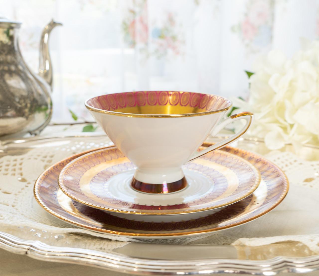 Антикварная немецкая чайная тройка, чашка, блюдце, тарелка, фарфор, Германия, Roslau