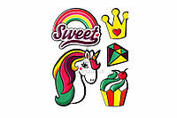Набор декоративных наклеек для гладких поверхностей Trendy Sticker Sweet Unicorn полимер, цена за 1 шт,