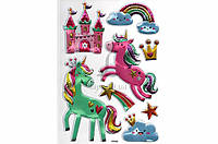 Набор декоративных наклеек для гладких поверхностей Home Decor Royal Unicorn объемные, цена за 1шт, 210x300mm,